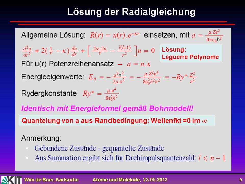 Lösung der Radialgleichung