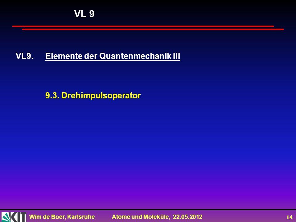 VL 9 VL9. Elemente der Quantenmechanik III 9.3. Drehimpulsoperator