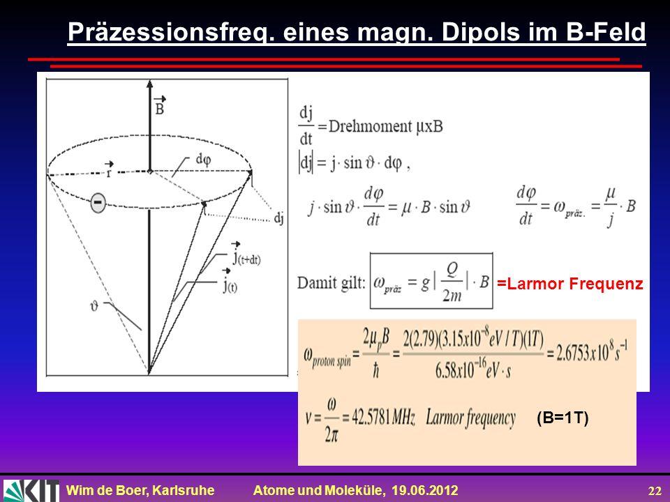 Präzessionsfreq. eines magn. Dipols im B-Feld
