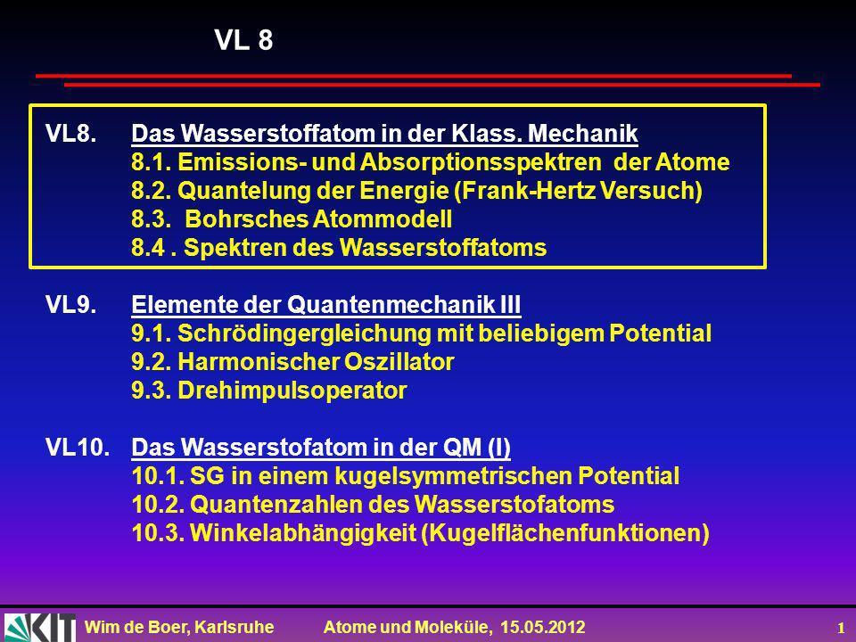 VL 8 VL8. Das Wasserstoffatom in der Klass. Mechanik