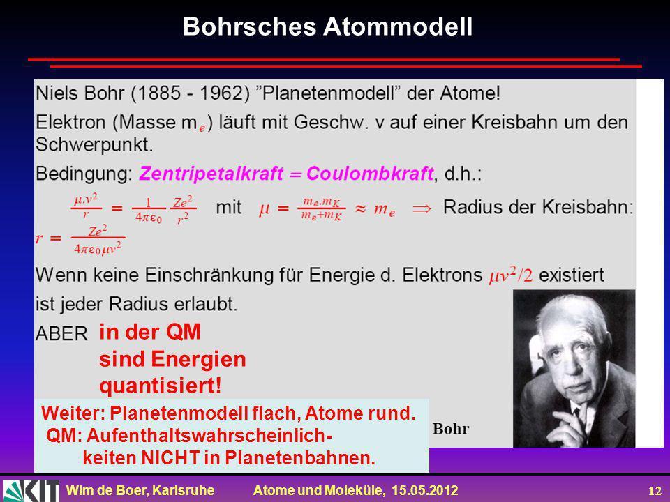Bohrsches Atommodell in der QM sind Energien quantisiert!