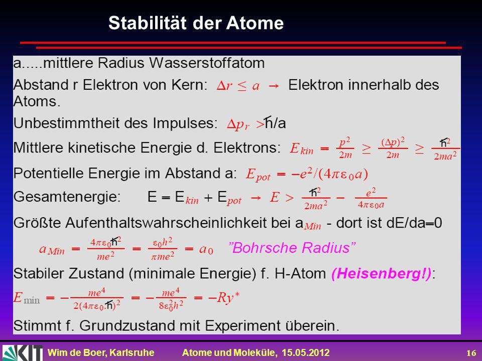 Stabilität der Atome