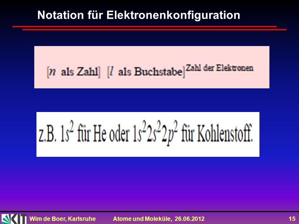 Notation für Elektronenkonfiguration