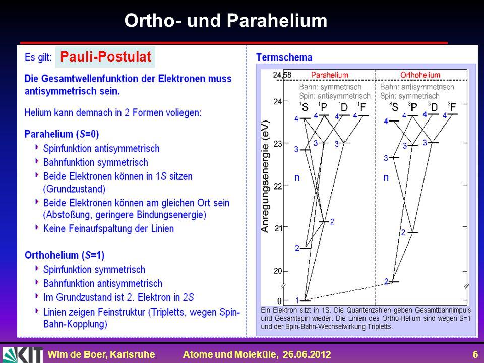 Ortho- und Parahelium Pauli-Postulat