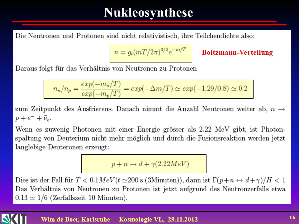 Nukleosynthese Boltzmann-Verteilung