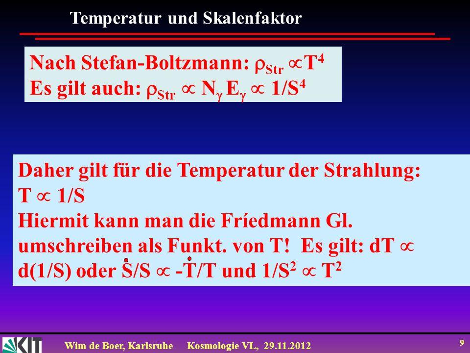 Nach Stefan-Boltzmann: Str T4 Es gilt auch: Str  N E  1/S4