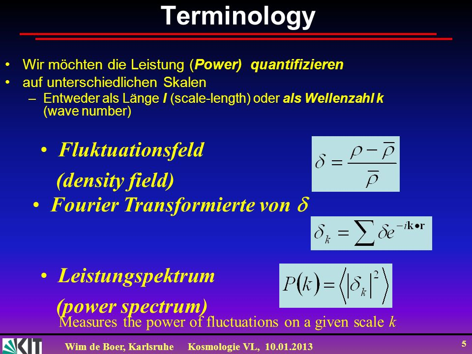 Terminology Fluktuationsfeld (density field)