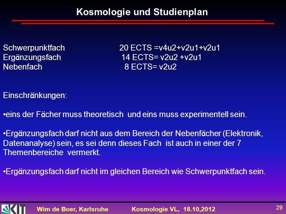 Kosmologie und Studienplan