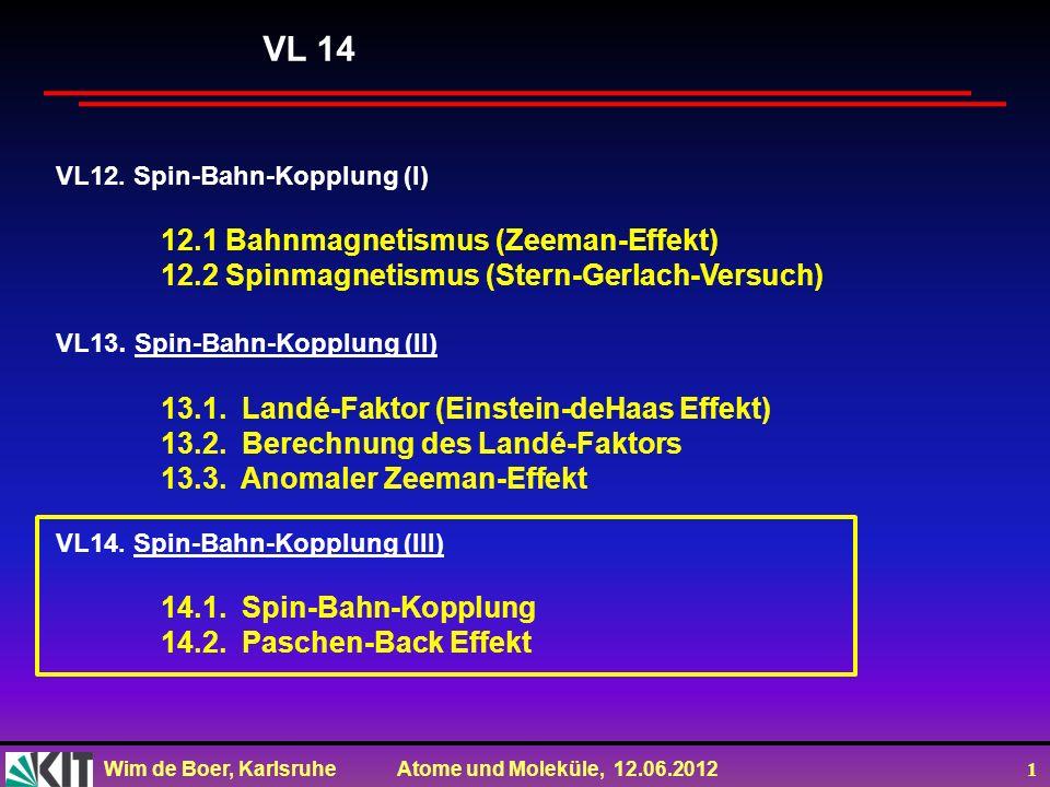 VL 14 12.1 Bahnmagnetismus (Zeeman-Effekt)
