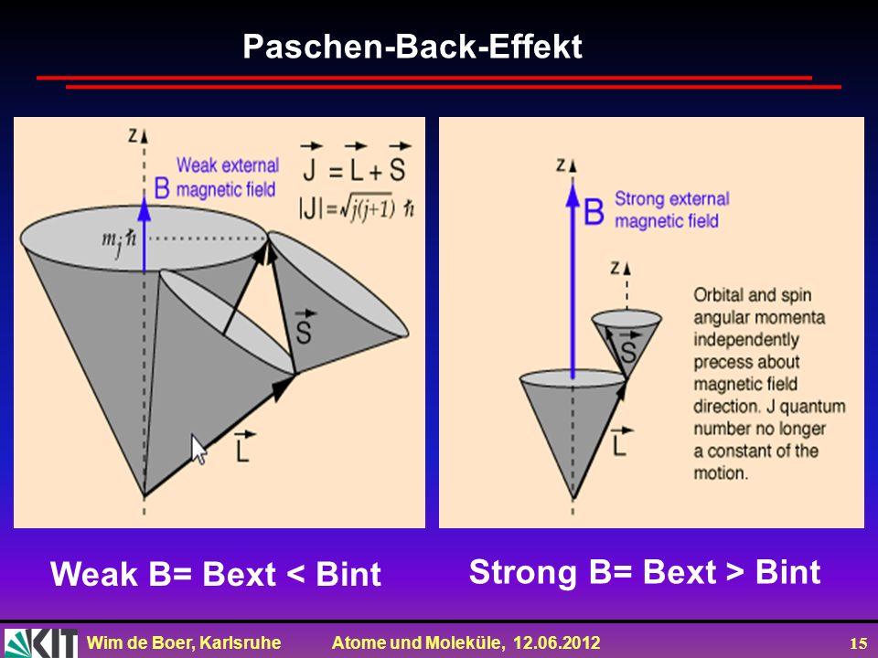 Paschen-Back-Effekt Weak B= Bext < Bint Strong B= Bext > Bint
