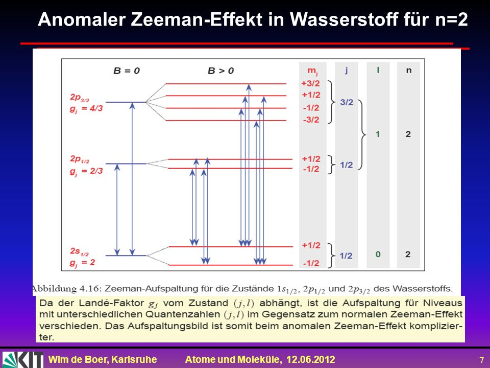 Anomaler Zeeman-Effekt in Wasserstoff für n=2
