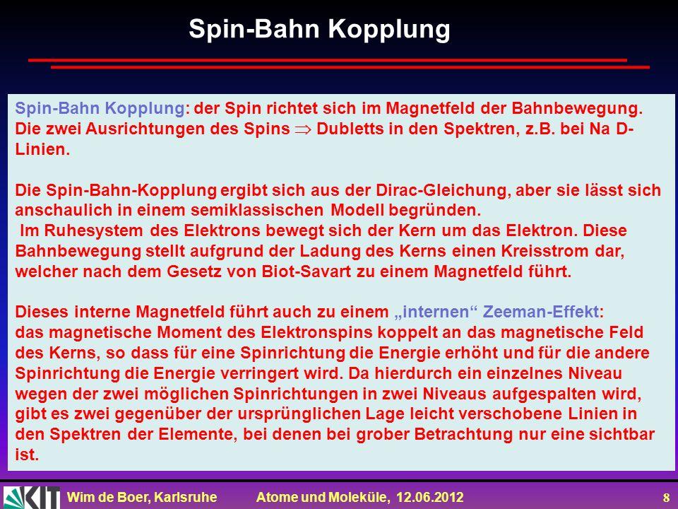 Spin-Bahn Kopplung Spin-Bahn Kopplung: der Spin richtet sich im Magnetfeld der Bahnbewegung.