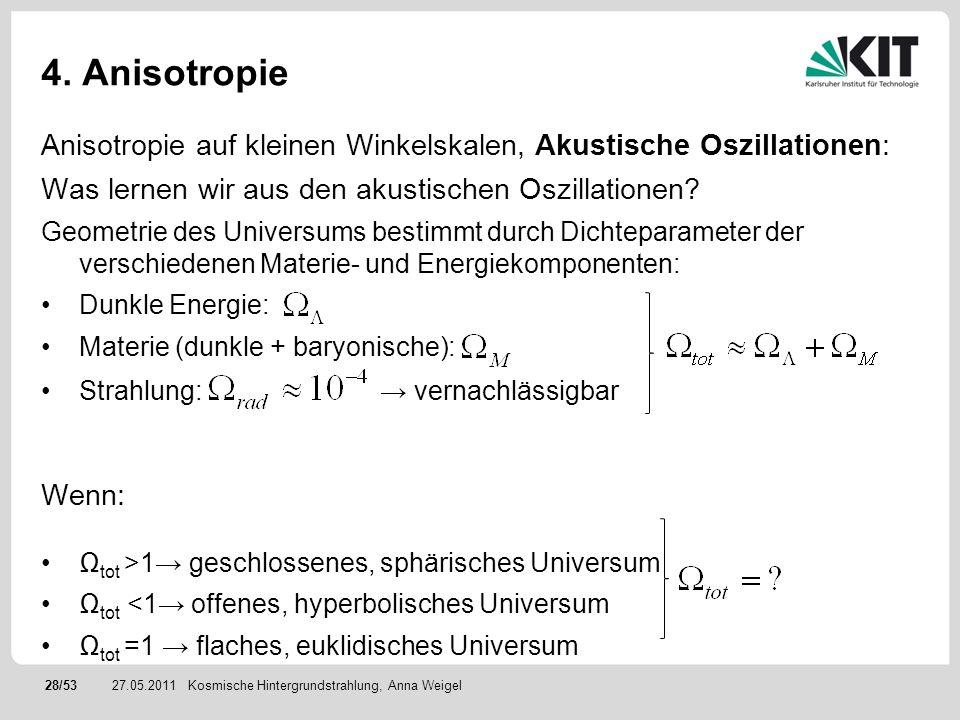 4. Anisotropie Anisotropie auf kleinen Winkelskalen, Akustische Oszillationen: Was lernen wir aus den akustischen Oszillationen
