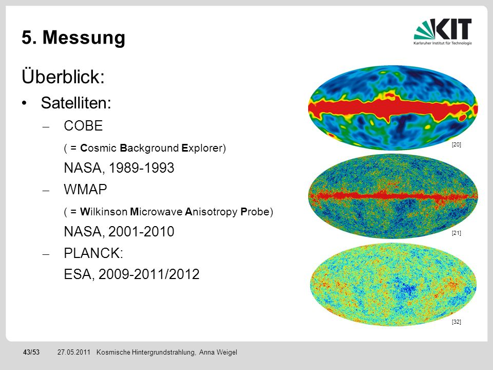 5. Messung Überblick: Satelliten: COBE ( = Cosmic Background Explorer)