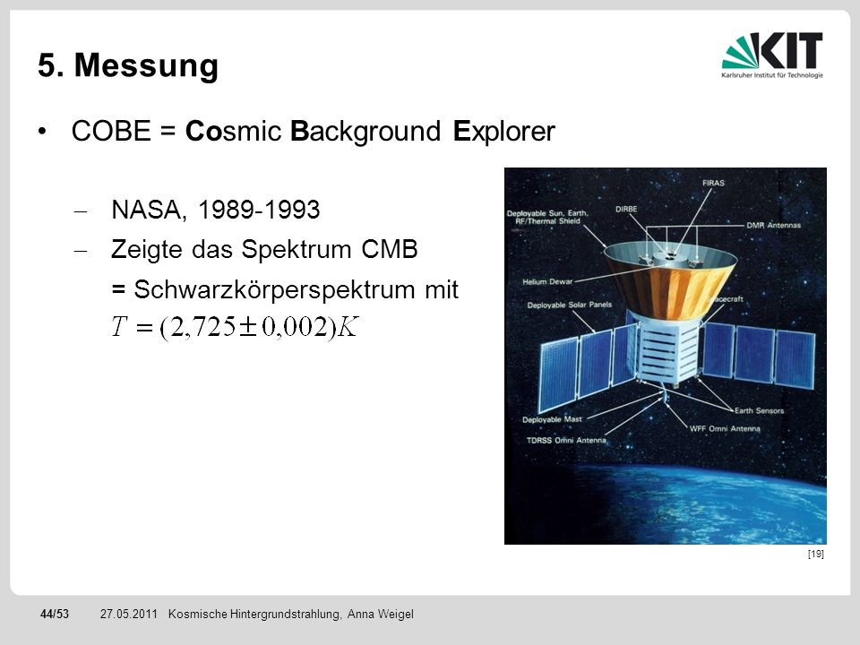 5. Messung COBE = Cosmic Background Explorer NASA, 1989-1993