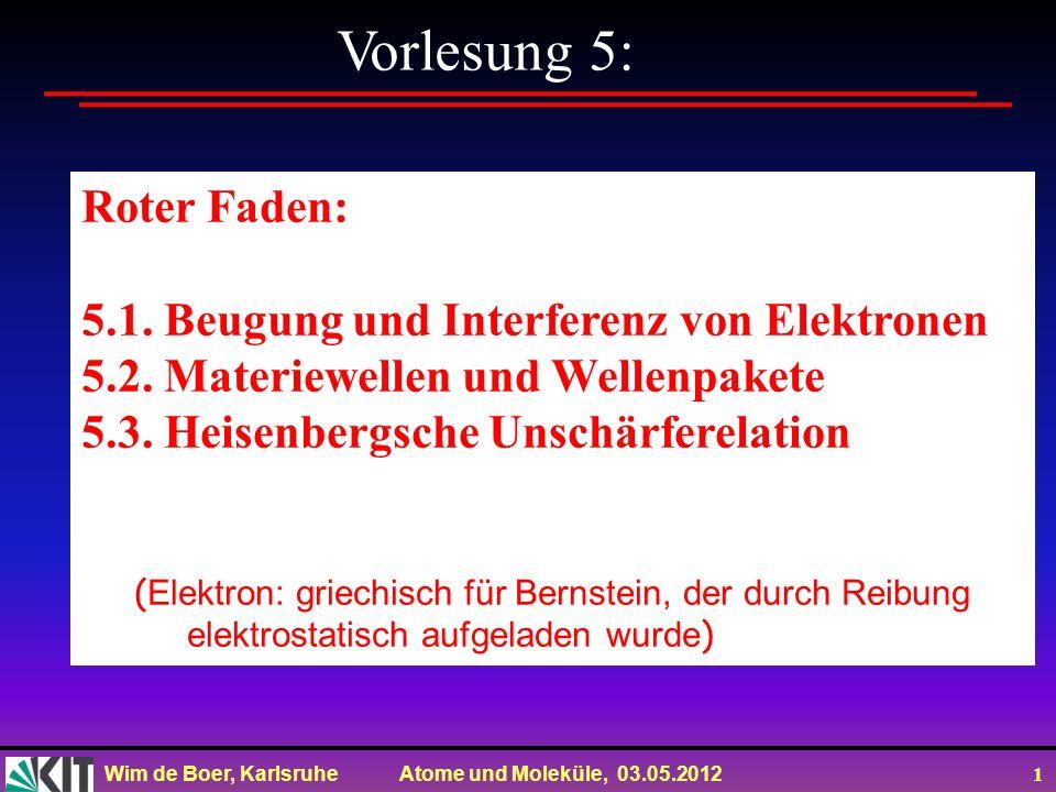 Vorlesung 5: Roter Faden: 5.1. Beugung und Interferenz von Elektronen