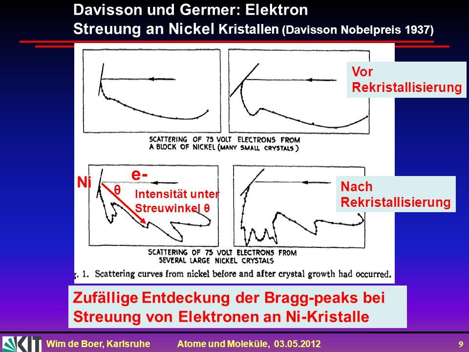 e- Davisson und Germer: Elektron