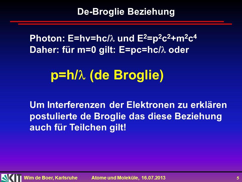 De-Broglie BeziehungPhoton: E=hv=hc/ und E2=p2c2+m2c4. Daher: für m=0 gilt: E=pc=hc/ oder. p=h/ (de Broglie)