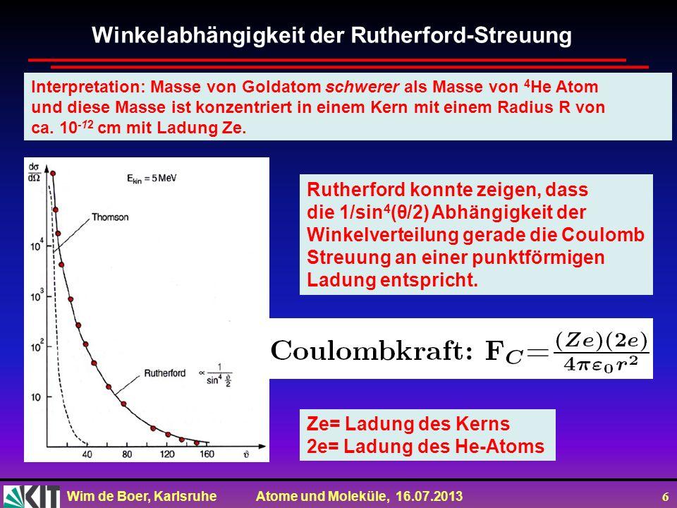 Winkelabhängigkeit der Rutherford-Streuung