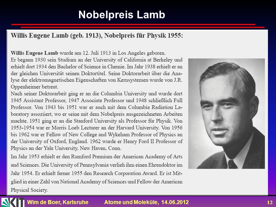 Nobelpreis Lamb