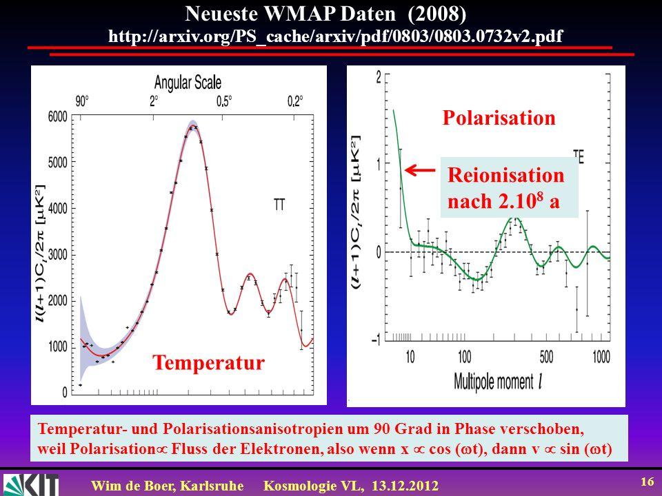 Neueste WMAP Daten (2008) Polarisation Reionisation nach 2.108 a