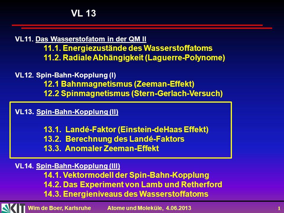 VL 13 11.1. Energiezustände des Wasserstoffatoms