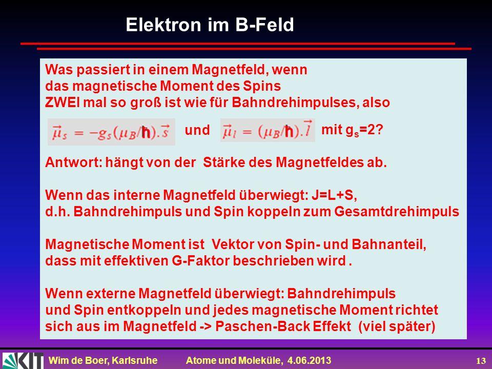 Elektron im B-Feld Was passiert in einem Magnetfeld, wenn