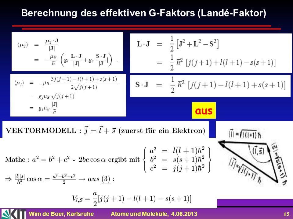 Berechnung des effektiven G-Faktors (Landé-Faktor)