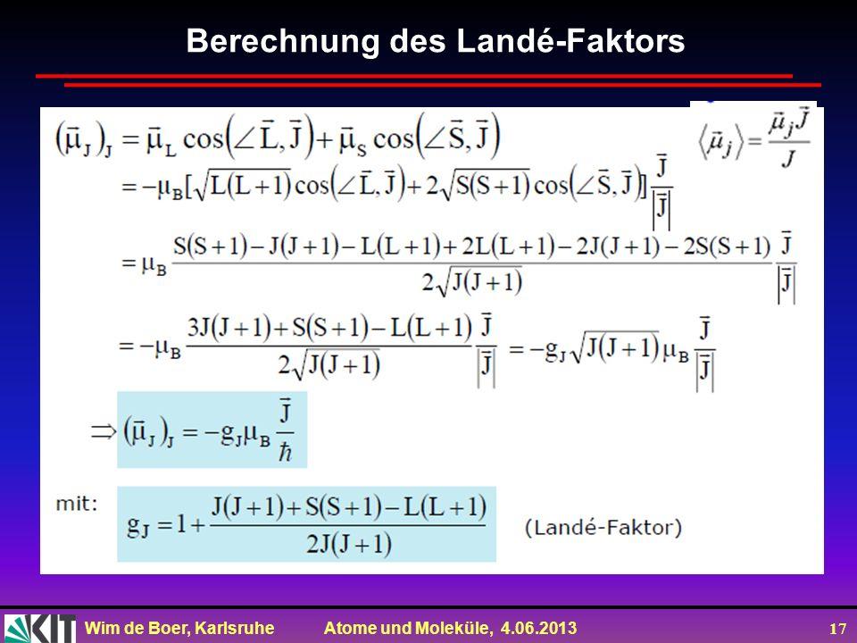 Berechnung des Landé-Faktors