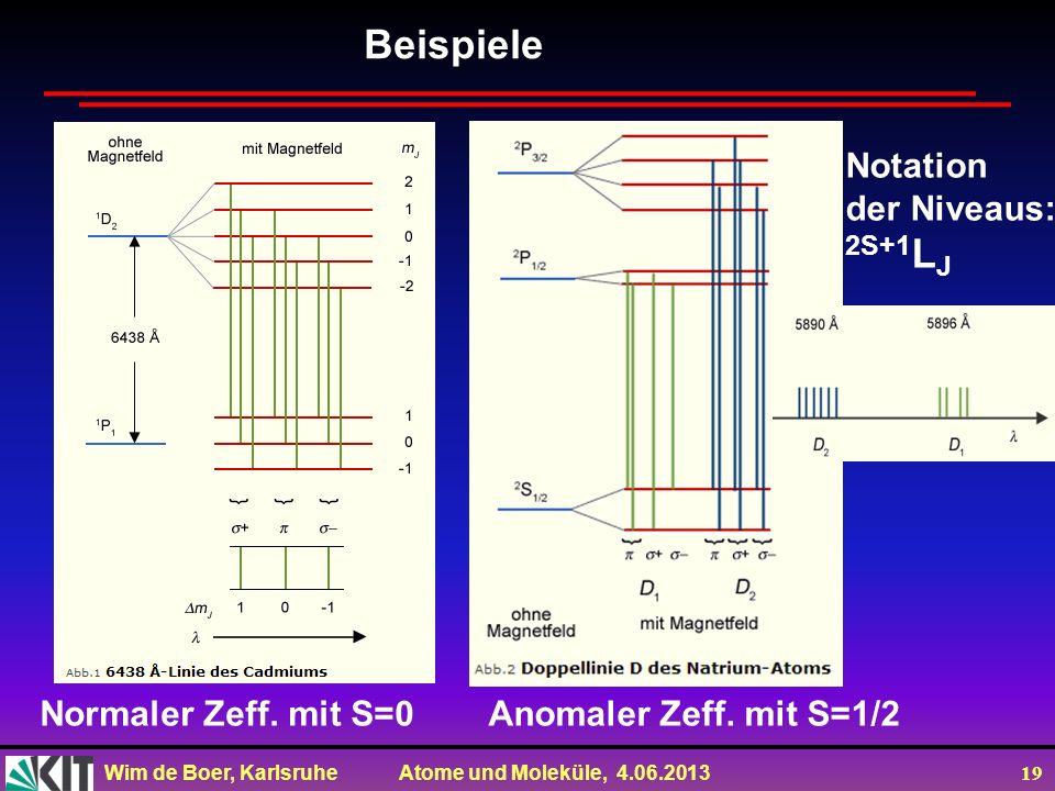Beispiele 2S+1LJ Notation der Niveaus: Normaler Zeff. mit S=0