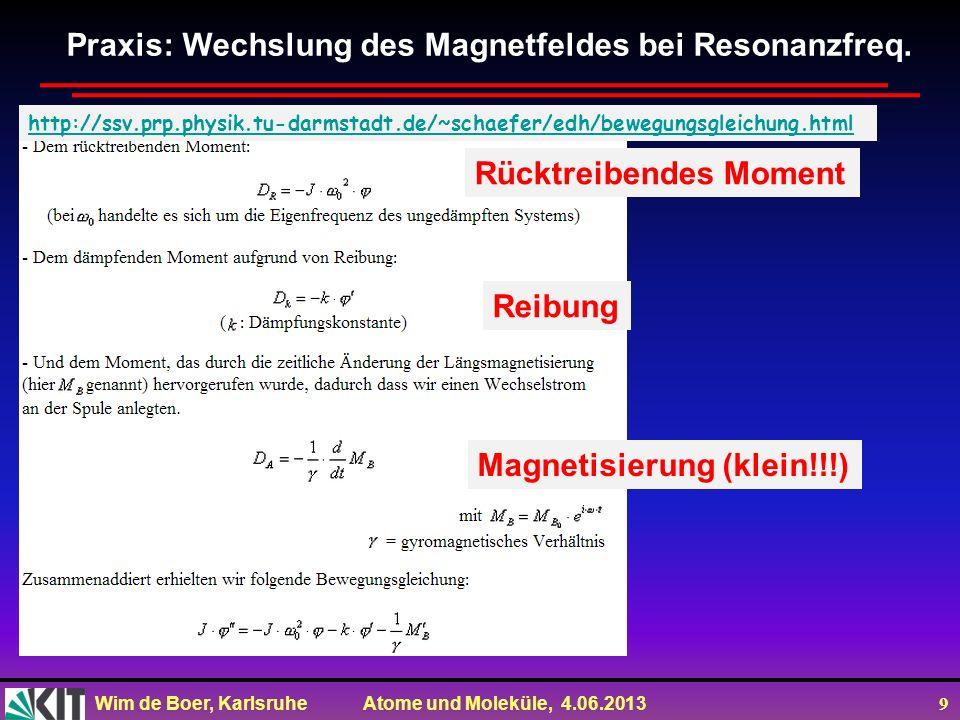 Praxis: Wechslung des Magnetfeldes bei Resonanzfreq.
