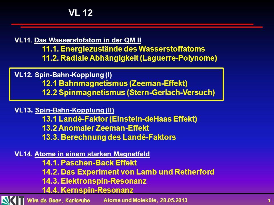 VL 12 11.1. Energiezustände des Wasserstoffatoms