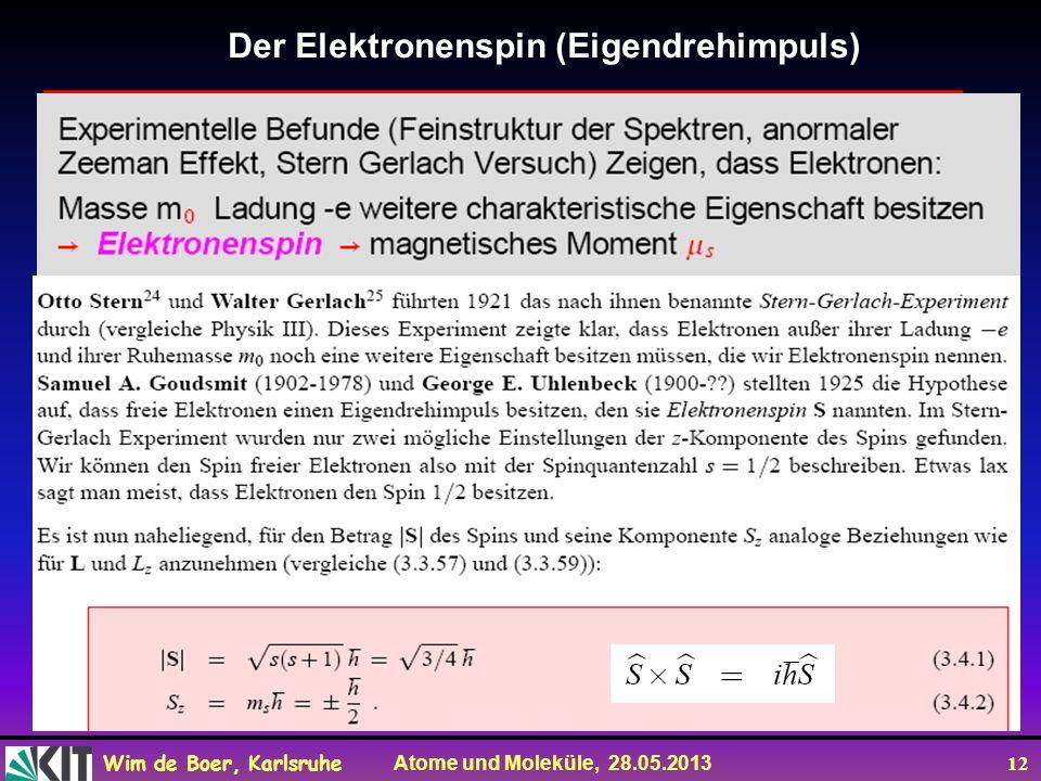 Der Elektronenspin (Eigendrehimpuls)