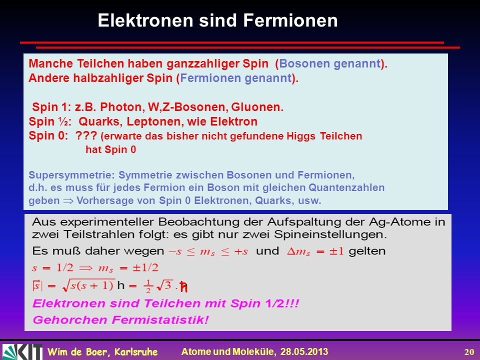 Elektronen sind Fermionen
