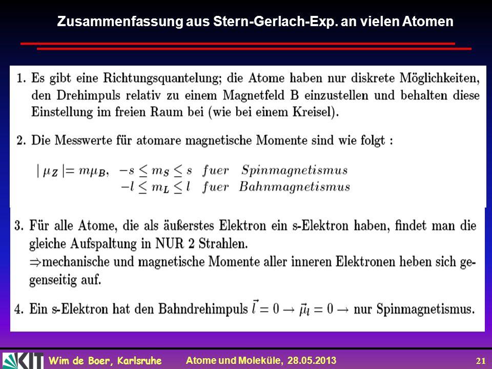 Zusammenfassung aus Stern-Gerlach-Exp. an vielen Atomen