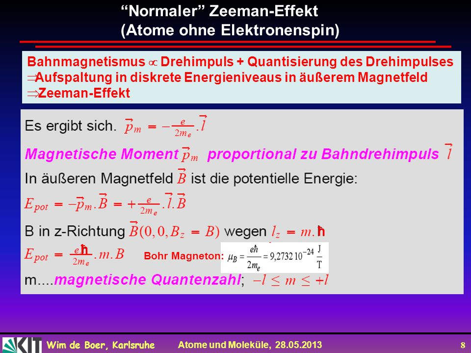 Normaler Zeeman-Effekt (Atome ohne Elektronenspin)