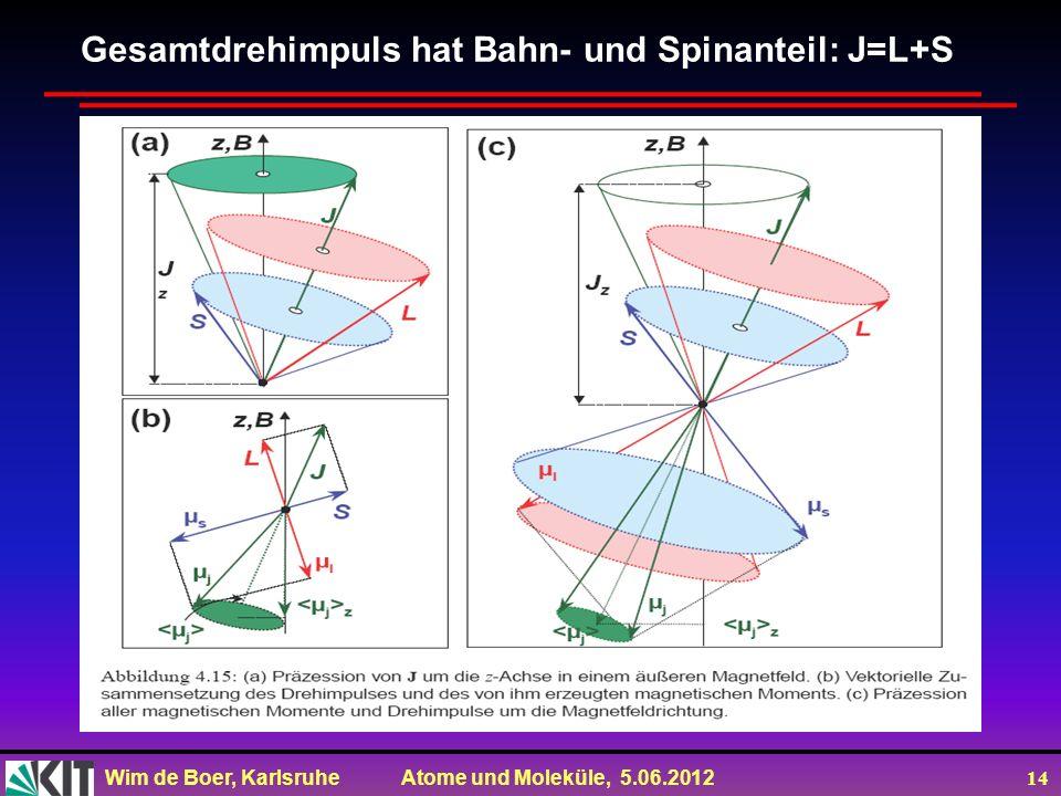 Gesamtdrehimpuls hat Bahn- und Spinanteil: J=L+S