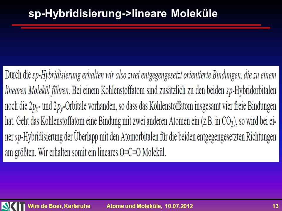 sp-Hybridisierung->lineare Moleküle