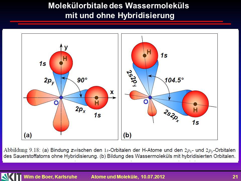 Molekülorbitale des Wassermoleküls mit und ohne Hybridisierung
