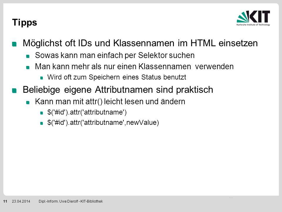Möglichst oft IDs und Klassennamen im HTML einsetzen