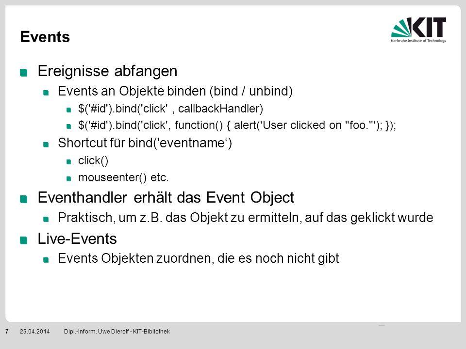 Eventhandler erhält das Event Object Live-Events