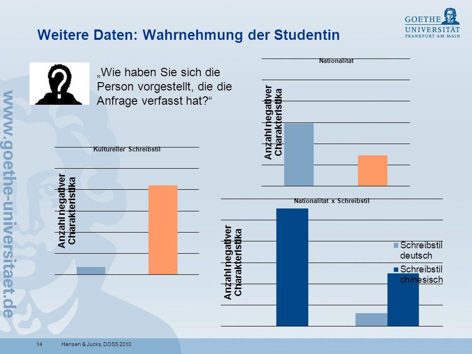 Weitere Daten: Wahrnehmung der Studentin
