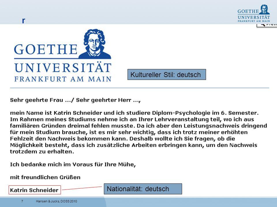 r Kultureller Stil: deutsch Nationalität: deutsch Vorlesen.