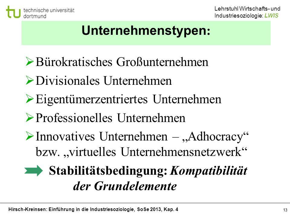 Unternehmenstypen: Bürokratisches Großunternehmen. Divisionales Unternehmen. Eigentümerzentriertes Unternehmen.