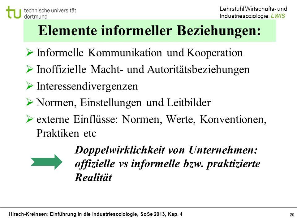Elemente informeller Beziehungen: