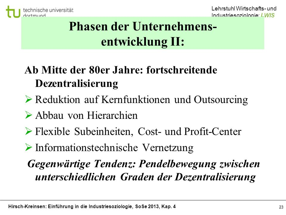Phasen der Unternehmens- entwicklung II: