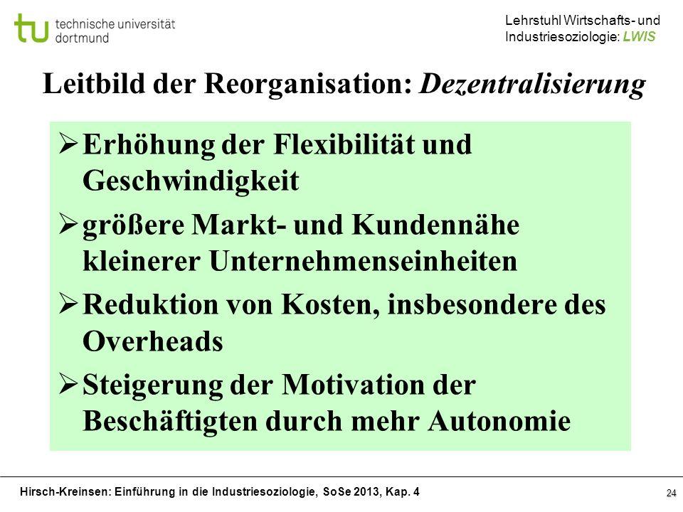 Leitbild der Reorganisation: Dezentralisierung