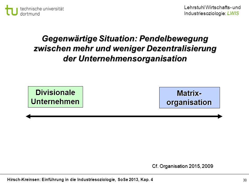 Gegenwärtige Situation: Pendelbewegung zwischen mehr und weniger Dezentralisierung der Unternehmensorganisation