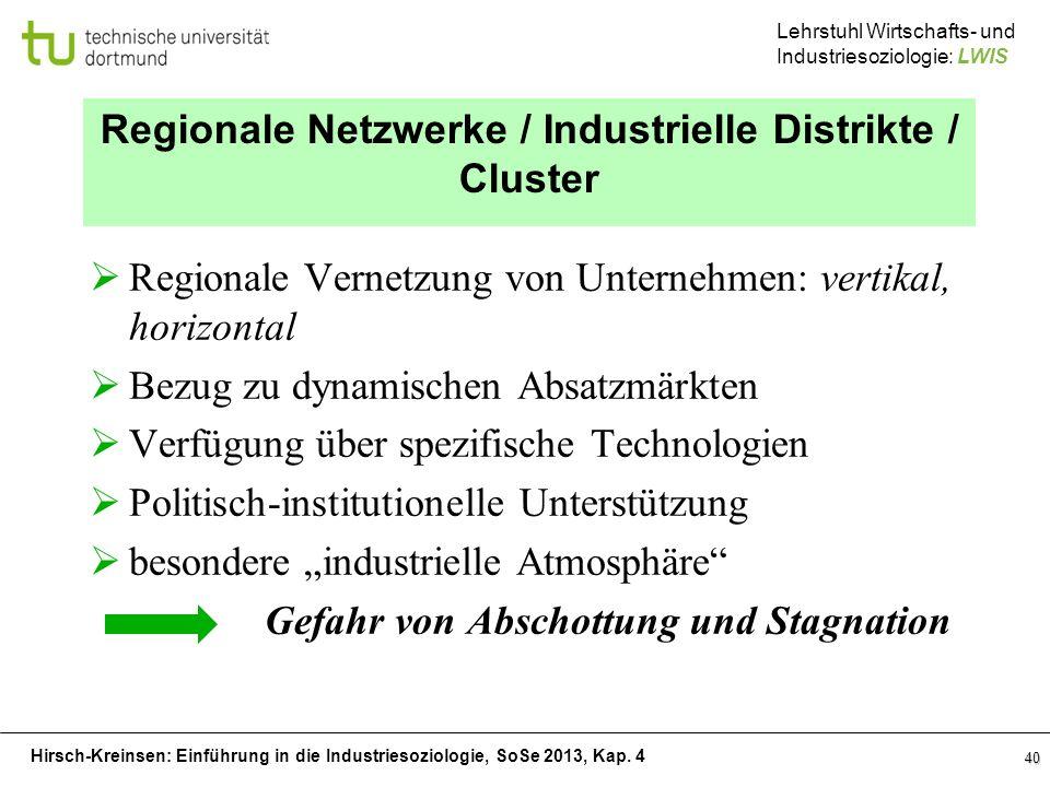 Regionale Netzwerke / Industrielle Distrikte / Cluster