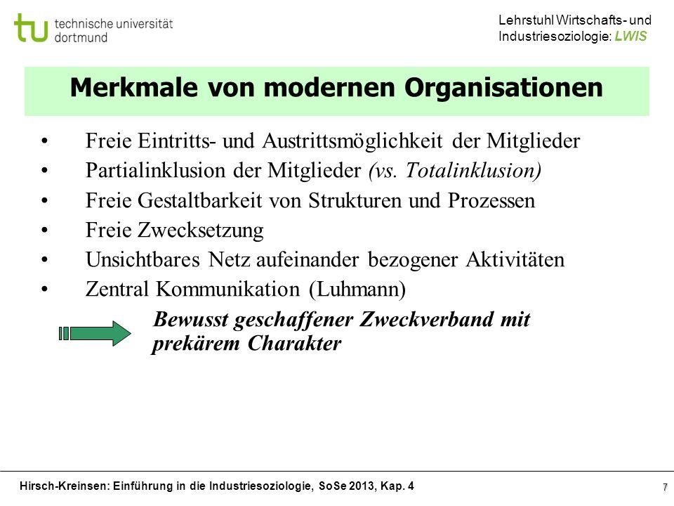 Merkmale von modernen Organisationen